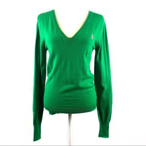 U.S. Polo Assn. Kelly Green V Neck Sweater